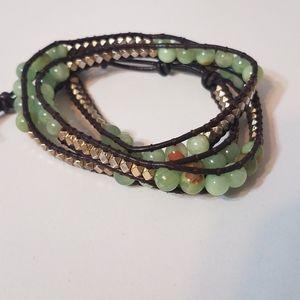 Bella Ryann Gold Metal and Green Wrap Bracelet